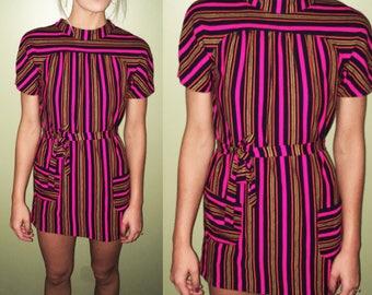60s Vintage Mod Hot Pink Navy Striped Mini Dress Tunic