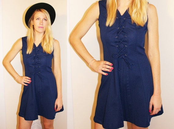 70s Vintage Navy Polyester Lace-Up Dress