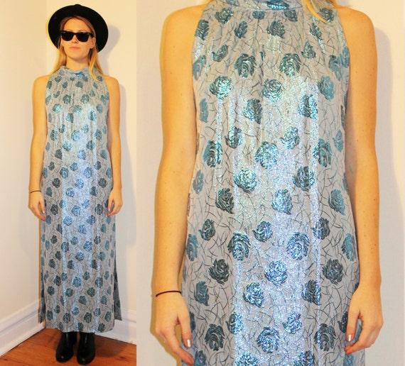 60s Vintage Blue Floral Lamé Gown