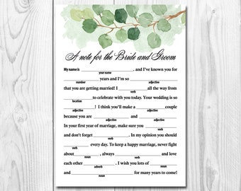Printable Wedding Mad Libs, Greenery Wedding Mad Libs Cards for Advice, Watercolor Rustic Green Leaf  Wedding Reception Game/Activity B302