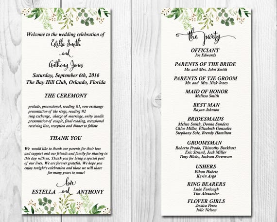 greenery wedding program wedding program printable wedding etsy