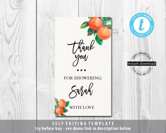 Editable Printable Template Thank You Card,Templett INSTANT DOWNLOAD A Little Cutie Is On The Way Orange  Baby Shower Thank You Card H16