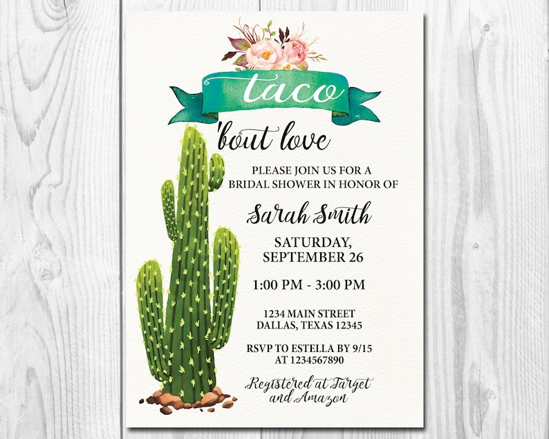 93b39d296596 Printable Rustic Taco Bout Love Bridal Shower Invitation