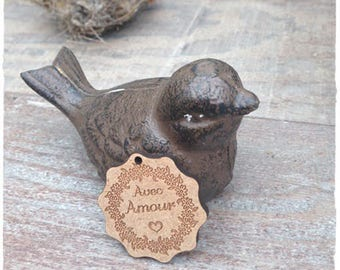 a cute little tag made from wood with engraving * with love * 3.50 cm height