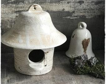 Height 13 cm ceramic stoneware bird nesting box