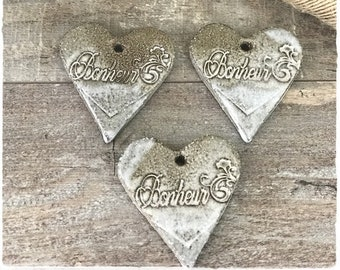 Pretty hearts 3 stoneware ceramic Brown height 5.5 cm