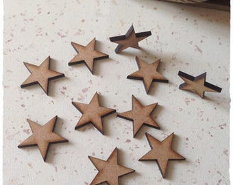 Set of 25 stars blank 2.6 cm thickness 3 mm diameter