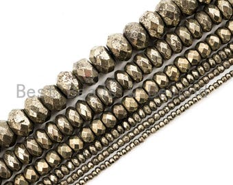 Center Drilled Faceted Rondelles Natural Golden Pyrite Size 3 mm 13 Inches Strand