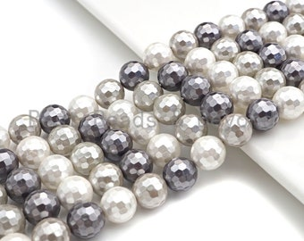 Freshwater Pearls 7 MM Oval Shape Black Color Faceted Pearl String