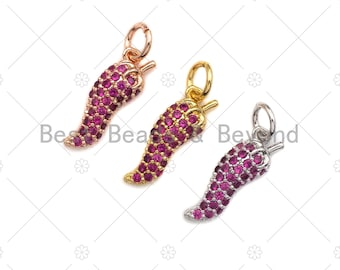 2PCS 6x15mm Chili Cubic Charms Jewelry Findings S634 Necklace charms 18K Gold Plated Fuchsia CZ Pave Pendant Pepper Shape Pendant