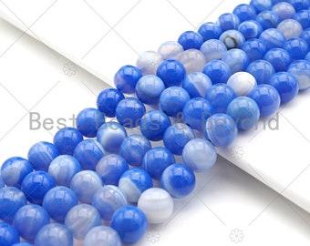 Top Quality Natural Blue Lace Agate Smooth Round Beads 8mm10mm12mm14mm16mm Blue Agate Gemstone Beads,15.5 Full Strand,SKU#U114