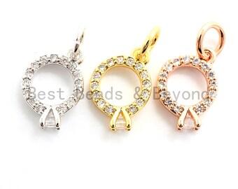 d36e7382a 2pcs/4pcs CZ Micro Pave Diamond Ring Pendant/Charm,Cubic Zirconia Paved  Charm, Necklace Bracelet Charm Pendant, 7x10mm,sku#Y154