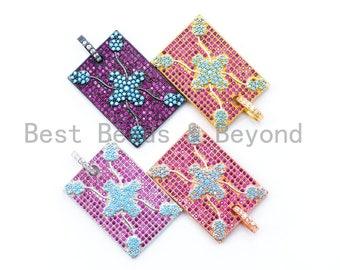 2c81ab3462b CZ Micro Pave Turquoise Fuchsia Square Rectangular Pendant