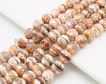 bead supply DZI Agate BEADS 12mm Round Gemstone Tibet rustic aged looking for making jewelry