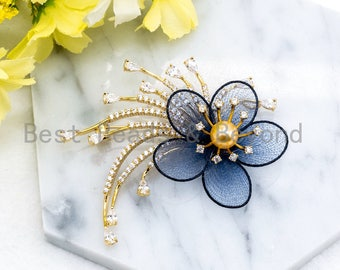Silk flower brooch etsy cz micro pave blue silk flower brooch with 8mm round shell pearl gold tone pave flower brooch pin silver flower jewelry 52x64mm skup39 mightylinksfo