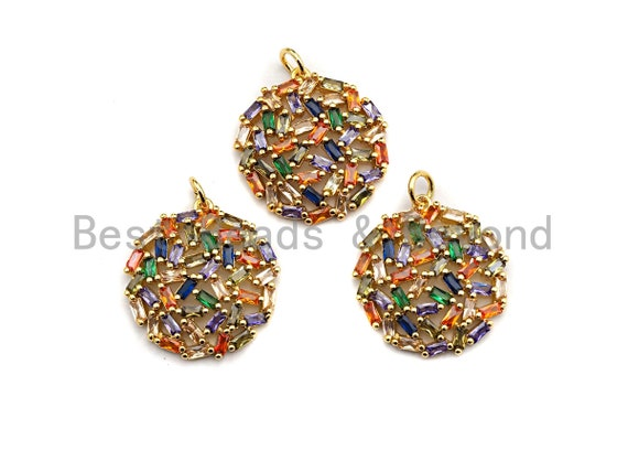 Colorful Baguette CZ Micro Pave Round Shaped Rose Flower Cluster Pendant, Cz Pave Bracelet Necklace Pendant in Gold Finish,21x23mm, sku#F909
