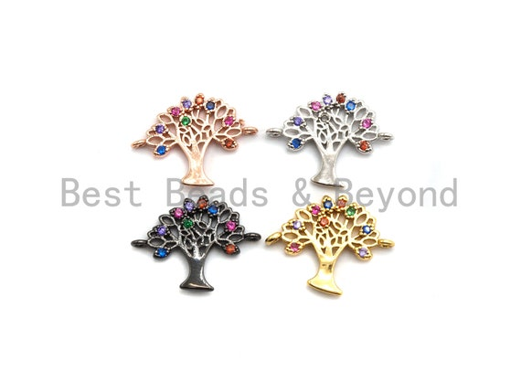 PRE-SELLING Colorful CZ Micro Pave Tree Connector for Bracelet/Necklace, Tree Connector, Spacer Connector,13x16mm,sku#E436