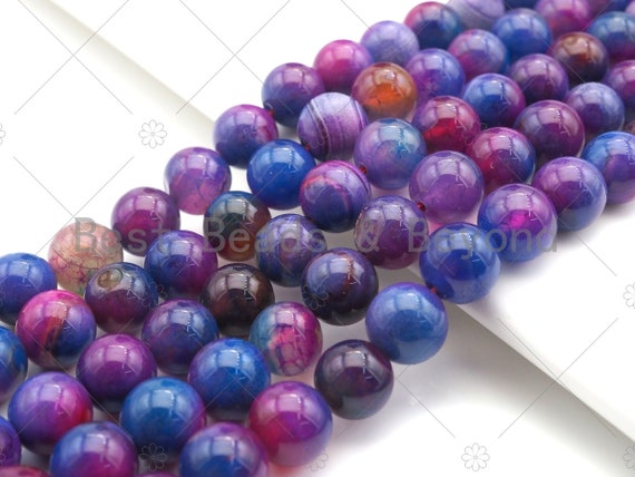 "NEW Galaxy color Natural Smooth Agate Beads, 8mm/10mm/12mm Multicolor Round Smooth Agate Beads, 15.5"" Full Strand, sku#UA193"