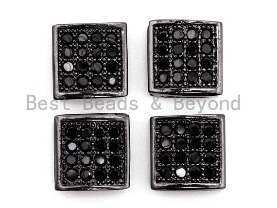 Black CZ Pave On Black Flat Square Beads, Black Micro Pave Beads, Cubic Zirconia Spacer Beads, 3x8mm, sku#G322
