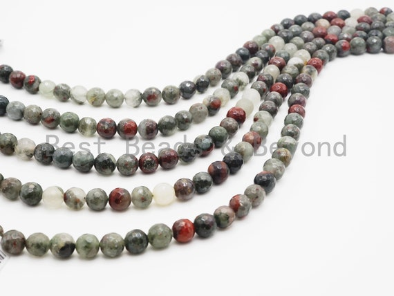 Natural Faceted Round Blood Stone beads, 4mm/6mm/8mm/10mm/12mm Natural Gemstone beads, Natural BloodStone, 15.5inch strand, SKU#U242