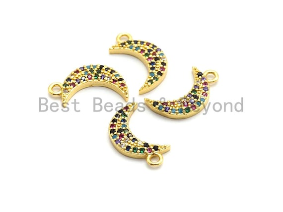 Multi-Color CZ Micro Pave Moon Pendant, Moon Shaped Pave Pendant, Gold plated, 8x14mm, Sku#B112