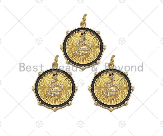 Gold Filled CZ Micro Pave Snake On Round Wrinkle Shape Pendant, 18K Gold Filled Enamel Charm, Necklace Bracelet Charm, 24x22mm,Sku#Z1347