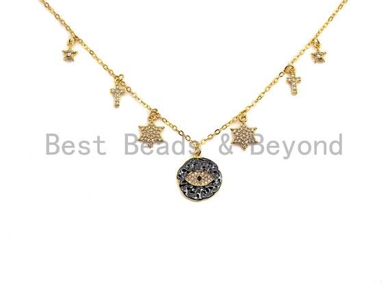 Gold Evil Eye Coin CZ Charm Necklace, Coin Necklace, Cross Star Necklace, Layering Necklace/Gold Disc Necklace, Dainty Necklace, Sku#Z710