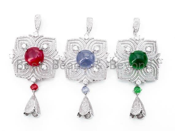 CZ Micro Pave Focal Flower Pendant, Focal Flower Pendant with tassle cap, Sapphire/Ruby/Emaerald Stone Pendant, 86mm, sku#L189