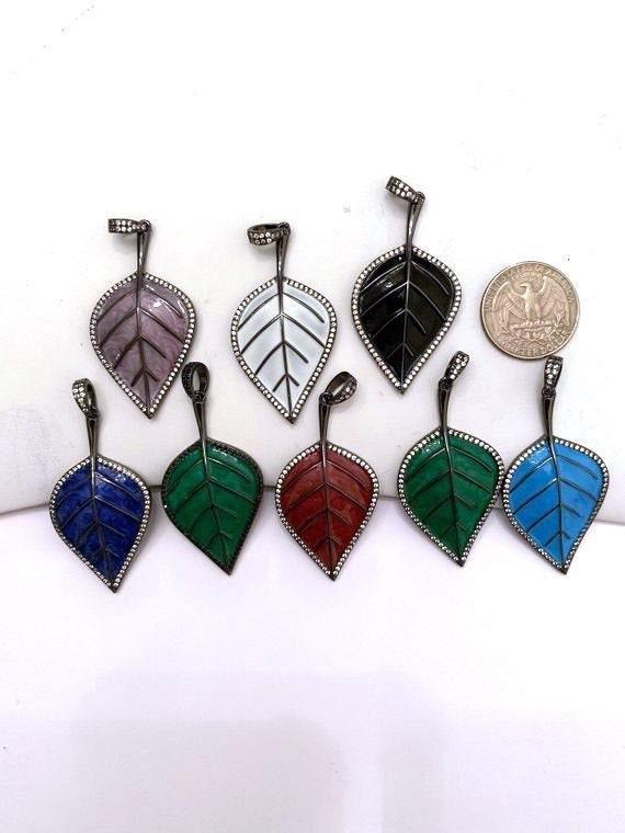 NEW Colorful Enamel Oil Drop Leaf Pendant, Cubic Zirconia Enamel Leaf Charm, Fashion Jewelry, 27x50mm, SKU#F618