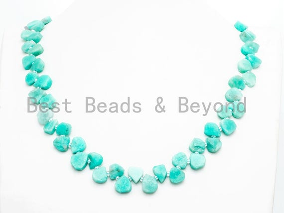 Quality Natural Amazonite beads, 10-14mm Irregular Teardrop Top Drill Green Gemstone Beads, 15.5 inches strand, SKU#U154