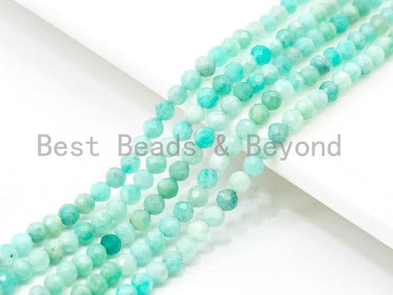 "Top Quality Faceted Amazonite Round Beads 3mm/4mm Gemstones Beads,Natural Amazonite  Beads,15.5"" Full Strand,SKU#U110"