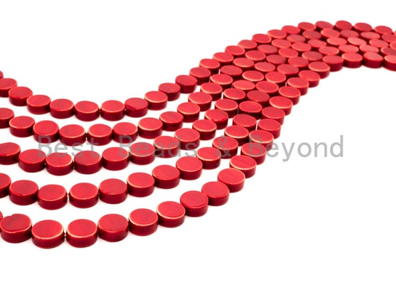 Red Natural Mother of Pearl beads,12x5mm Pearl Coin beads, Loose Coin Smooth Pearl Shell Beads, 16inch strand, SKU#T93