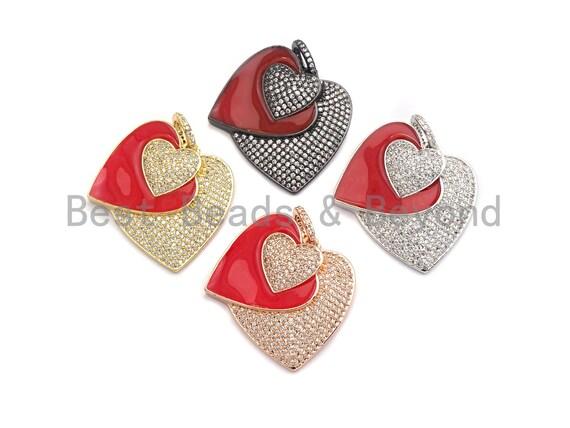 PRESELLING Pave CZ Enamel Three Hearts Pendant, Red Enamel Pendant,Enamel Heart Pendant, Oil Drop jewelry Findings,27x29mm,sku#F930