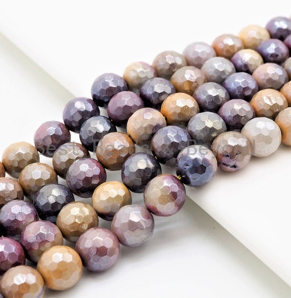 Quality Plated Natural Mookaite beads,Round Faceted Beads,6mm/8mm/10mm Gemstone Beads, 15.5inch FULL strand, SKU#U279