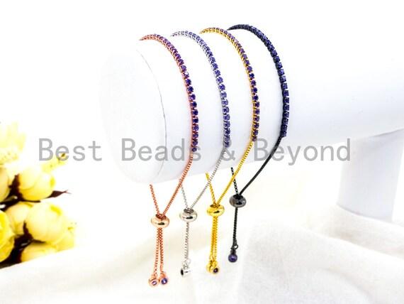 New Style Adjustable Bracelet, Puple CZ Pave Stud Bracelet Gold/Silver/Rose Gold/Gunmetal, Bridal Bracelet Jewelry,SKU#P49