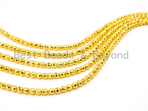 Natural Gold Hematite Beads- 2/3/4/6mm/8mm/10mm/12mm Round Faceted Hematite Gemstone Beads-15inch strand- Bright gold color Beads, SKU#S66
