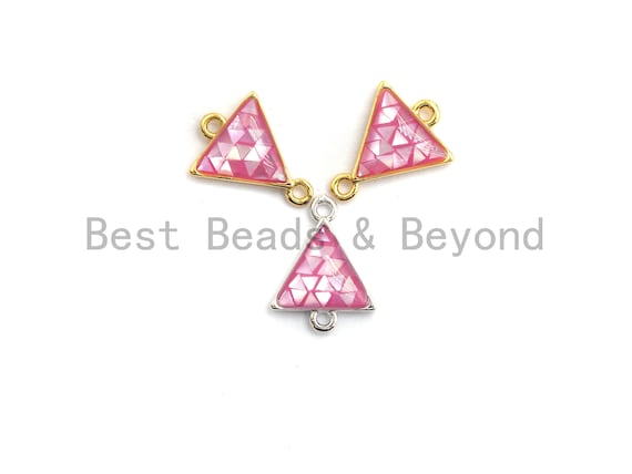 100% Natural Pink Shell Triangle Connector with Gold/Silver Finish, Fuchsia Pink Shell, Natural Shell for Jewelry Making, 11x14mm,SKU#Z270