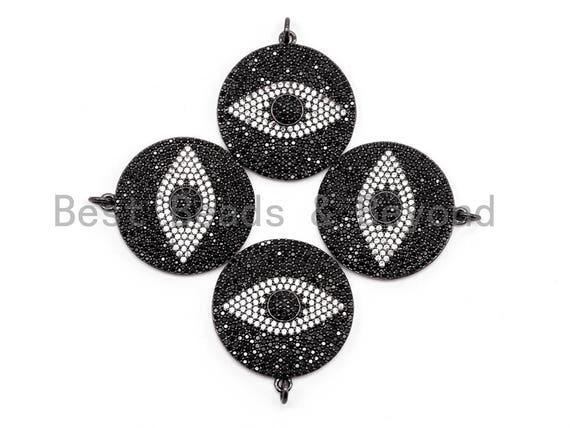 26mm/36mm Black CZ Pave On Black Micro Pave Round Evil Eye on Disc Pendant, Cubic Zirconia Pendant, Sku#F372