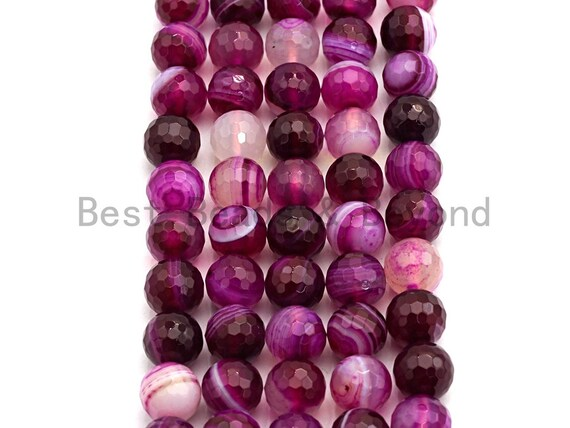 High Quality Faceted Purple Banded Agate beads, 6mm/8mm/10mm/12mm Violet Agate Gemstone beads, Natural Agate Beads,15.5inch strand, SKU#U451