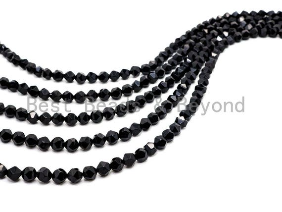 Quality Natural Black Onyx Diamond Cut Beads, 6mm/8mm/10mm/12mm, Round Faceted Black Onyx Gemstone Beads, 15inch strand, SKU#U41