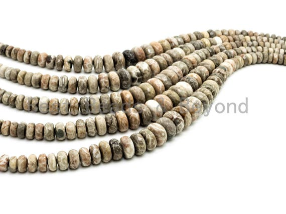 8-18mm High Quality Natural Fossil Coral Gemstone Graduated Beads, Faceted/Smooth Rondelle Gemstone Beads,15inch strand, SKU#U210/U200