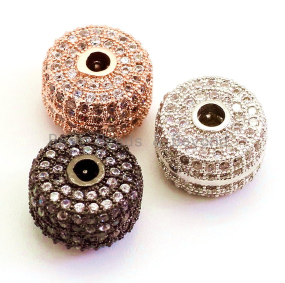 CZ Micro Pave Cylinder Spacer Beads with Clear Crystal for Bracelet/Necklace, Cubic Zirconia Beads, Bracelet Charms, 10x7mm, sku#G45