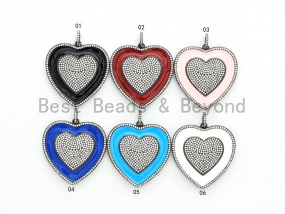 38mm Large Enamel Colored heart Pendant,Blue/Red/Pink/White/Black/Green, CZ Micro Pave Oil Drop Heart pendant,Enamel Jewelry,sku#F597