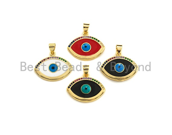 Enamel Colorful Evil Eye Pendant,CZ Micro Pave Oil Drop pendant,Enamel pendant,Enamel Jewelry,21x18mm,sku#F1035