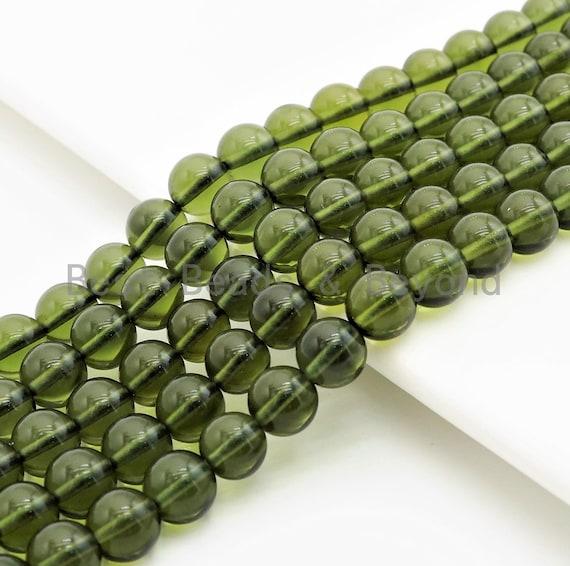Quality Genuine Czech Moldavite Meteorite Round Beads, 8mm/10mm/12mm Olive Green Gemstone beads, 15.5inch strand, SKU#U286