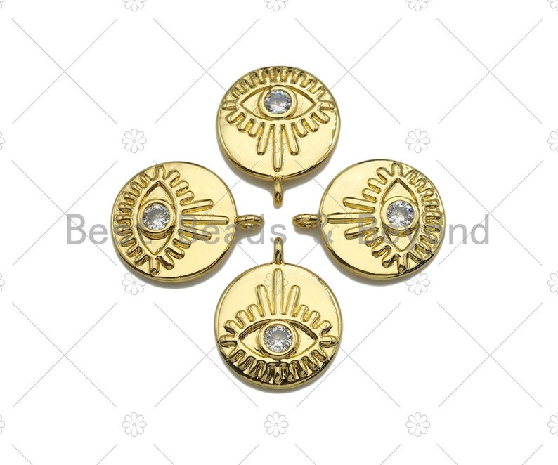 Clear CZ Micro Pave Evil Eye on Disc PendantCharm Lucky Eye Cubic Zirconia Pendant Real Gold Plated Charm Pendant,15x18mm,Sku#L304