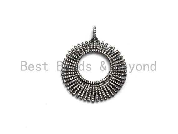 PRE-SELLING CZ Micro Pave Hollow Out Round Pendant/Charm,Cubic Zirconia Paved Charm, Necklace Bracelet Charm Pendant,40*43mm,sku#F631