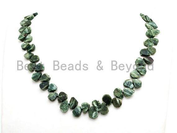 Quality Natural Seraphinite beads, 11-14mm Irregular Teardrop Dark Green Gemstone Beads, Natural Seraphinite  15inch strand, SKU#U155