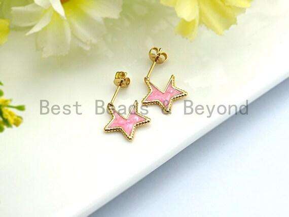 CZ Pave Pink Enamel Gold Star Stud Earring ,Gold plated, Minimal Earrings, Gold Pink star Earrings, 13x1mm,sku#J96