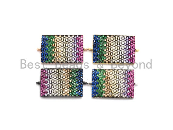 PRE-SELLING Rainbow CZ Micro Pave Rectangle Connector for Bracelet/Necklace, Rectangle Connector, Spacer Connector, 17x28mm,sku#E443